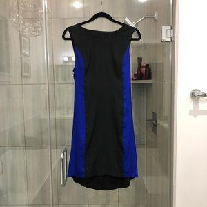 Blue & black shift dress - drape open back